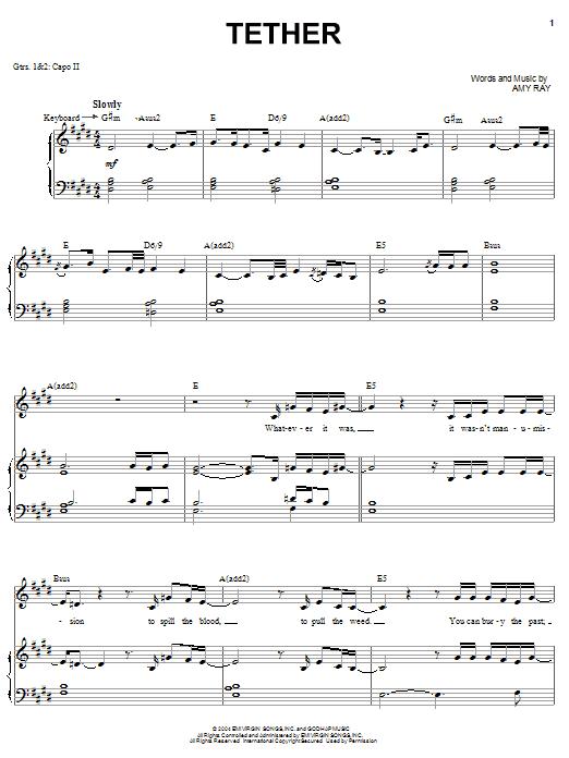Download Indigo Girls Tether sheet music and printable PDF score & Pop music notes