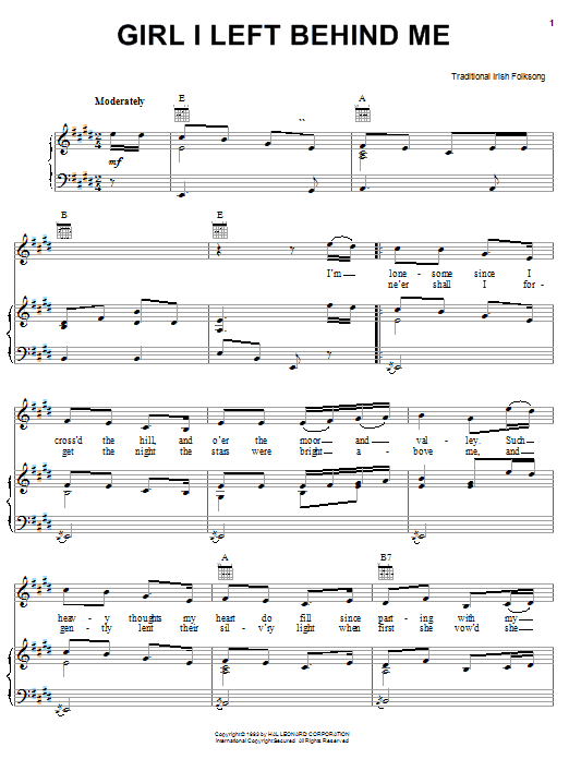 Download Irish Folksong Girl I Left Behind Me sheet music and printable PDF score & World music notes