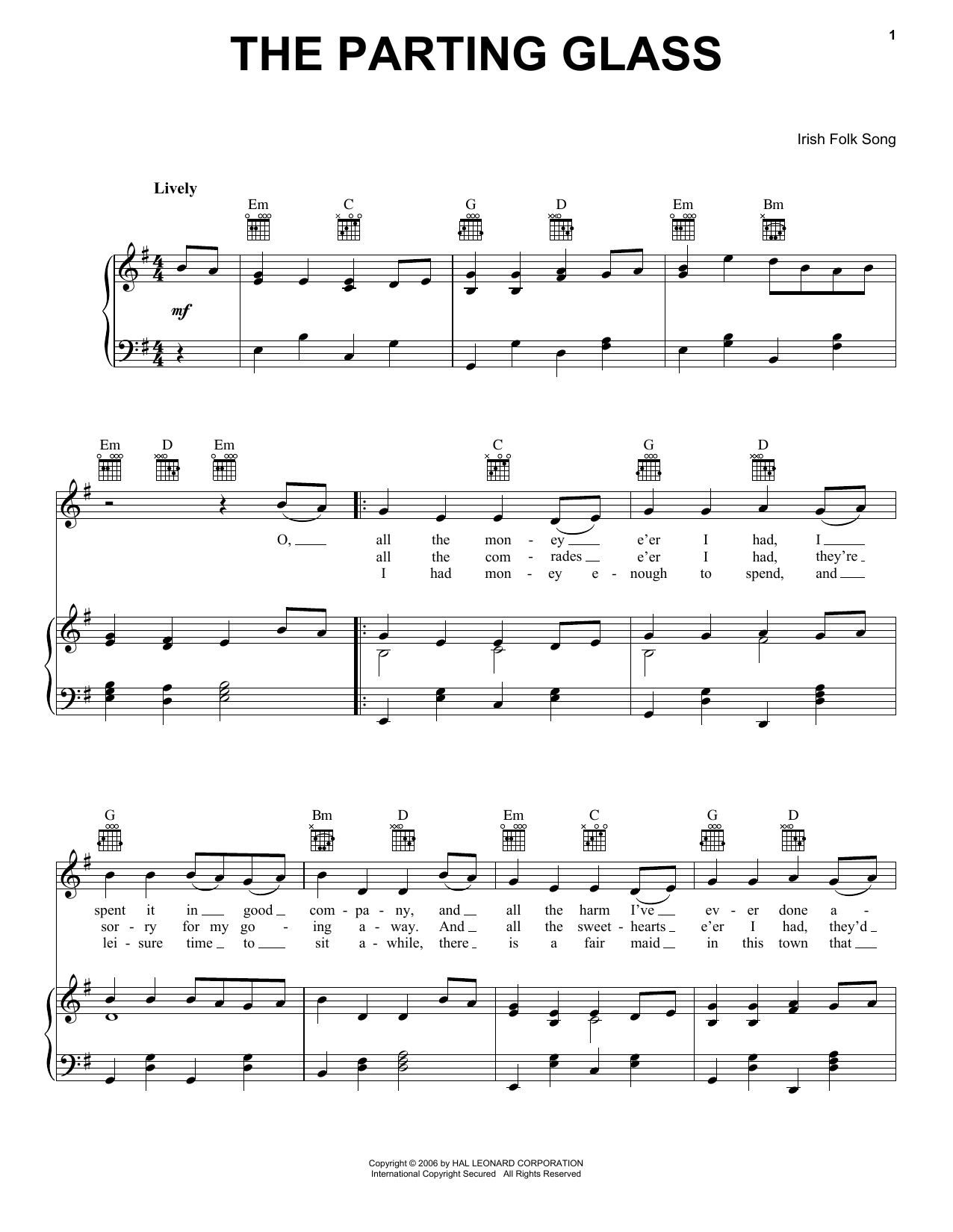 Download Irish Folksong The Parting Glass sheet music and printable PDF score & World music notes