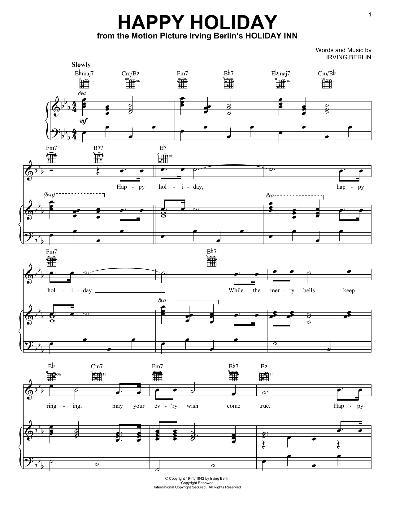 Download Irving Berlin Happy Holiday sheet music and printable PDF score & Broadway music notes