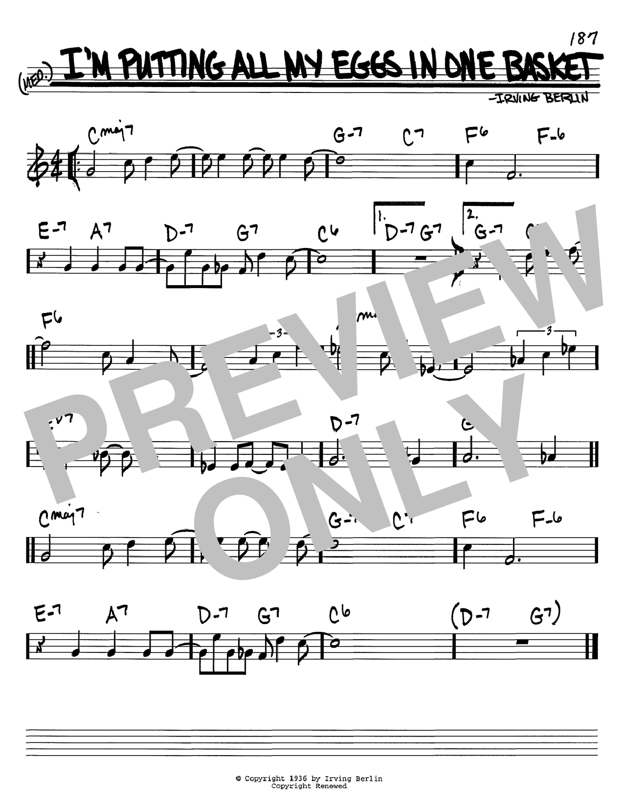 Download Irving Berlin I'm Putting All My Eggs In One Basket sheet music and printable PDF score & Jazz music notes