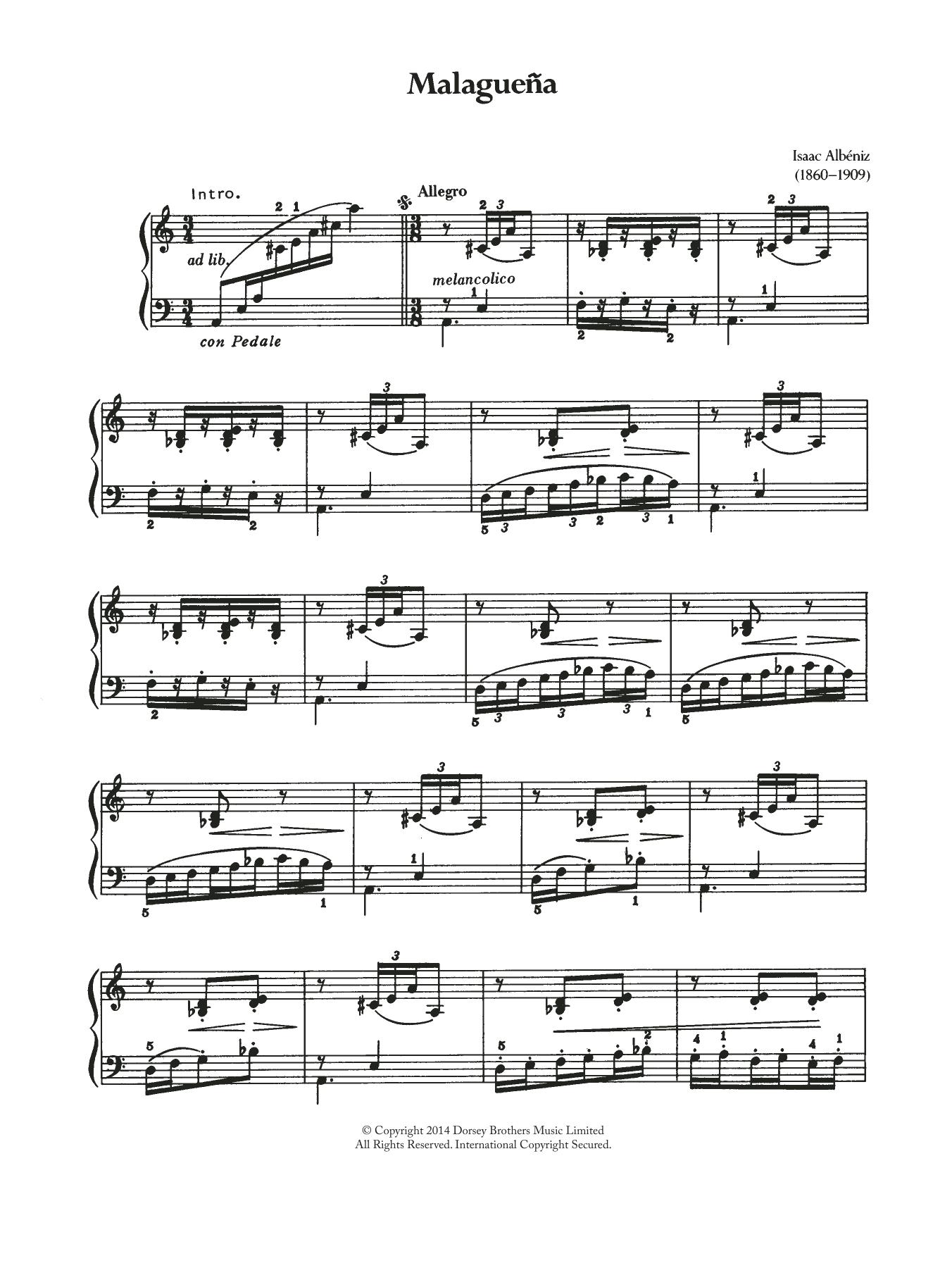 Download Isaac Albeniz Malaguena sheet music and printable PDF score & Classical music notes