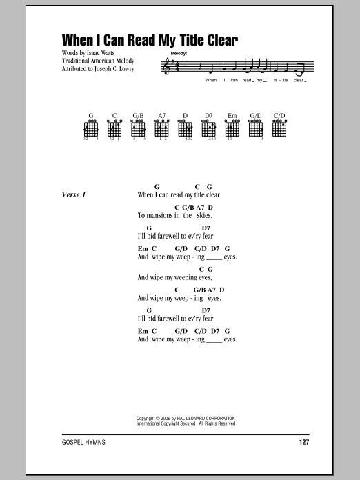 Download Isaac Watts When I Can Read My Title Clear sheet music and printable PDF score & Religious music notes