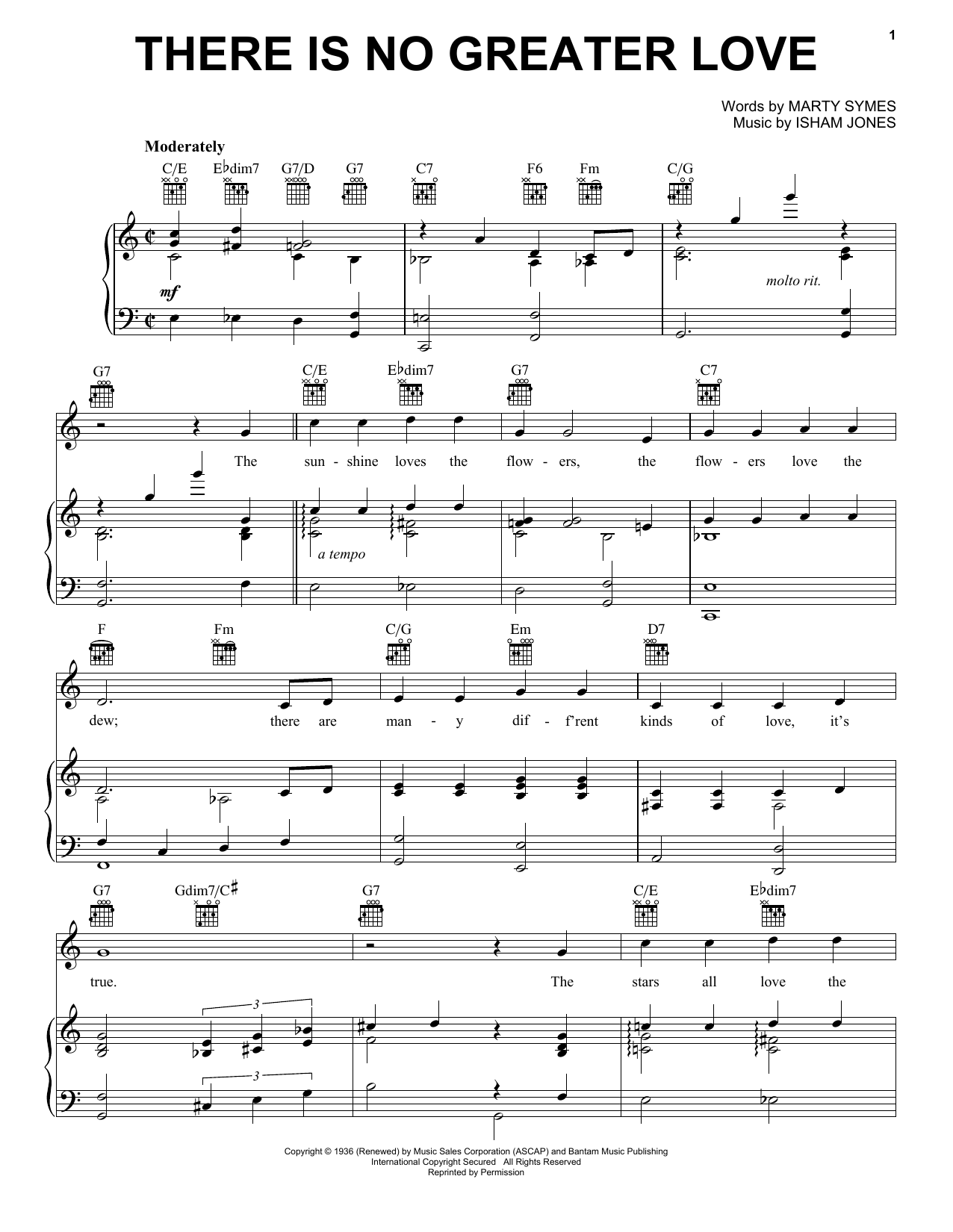 Download Isham Jones There Is No Greater Love sheet music and printable PDF score & Jazz music notes