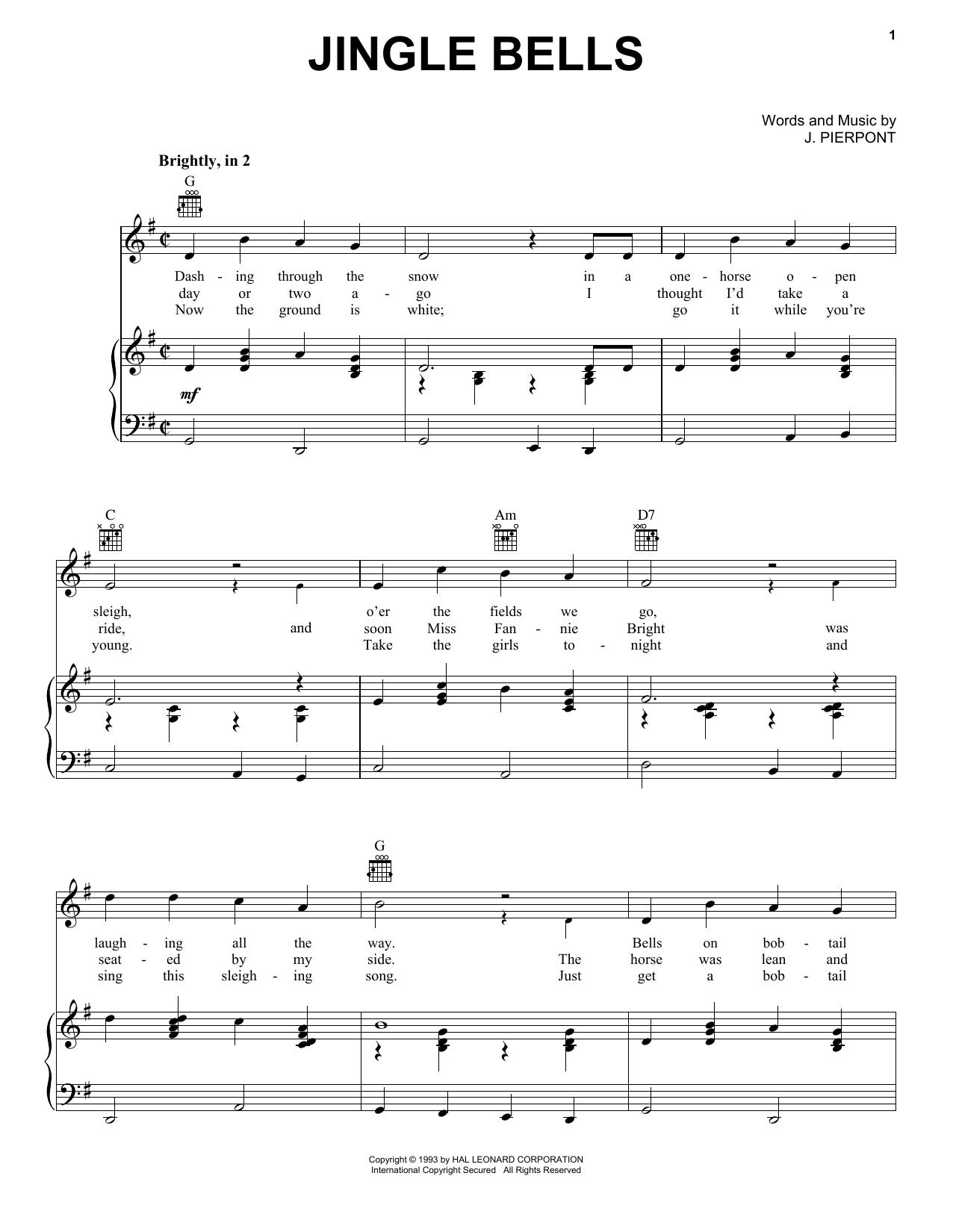 Download J. Pierpont Jingle Bells sheet music and printable PDF score & Folk music notes