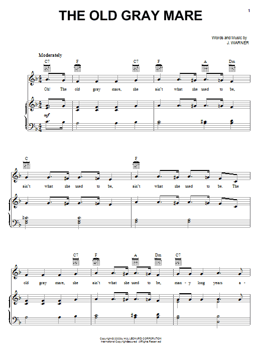 Download J. Warner The Old Gray Mare sheet music and printable PDF score & Children music notes