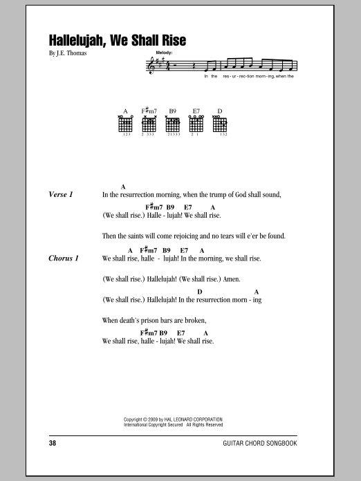 Download J.E. Thomas Hallelujah, We Shall Rise sheet music and printable PDF score & Hymn music notes