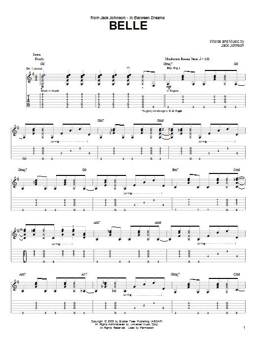 Download Jack Johnson Belle sheet music and printable PDF score & Pop music notes