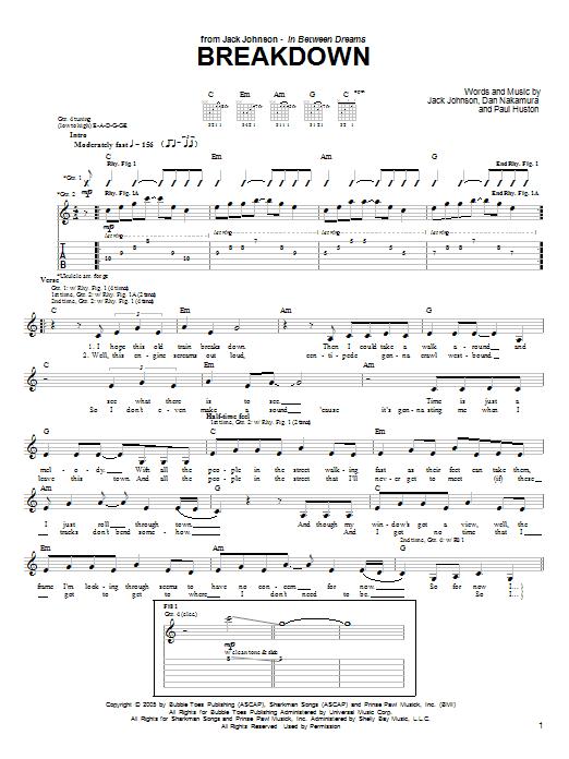 Download Jack Johnson Breakdown sheet music and printable PDF score & Rock music notes