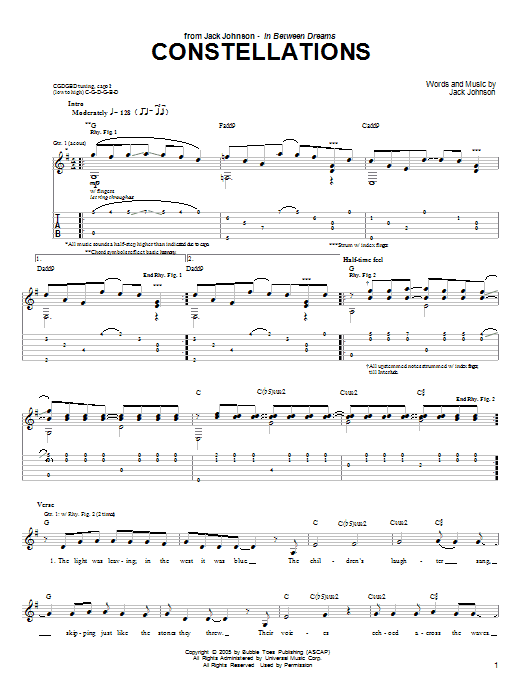 Download Jack Johnson Constellations sheet music and printable PDF score & Rock music notes