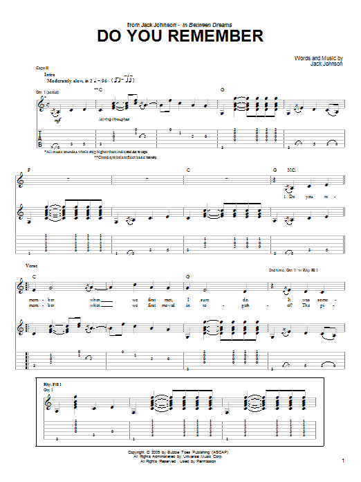 Download Jack Johnson Do You Remember sheet music and printable PDF score & Rock music notes