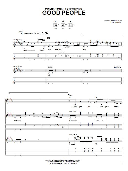 Download Jack Johnson Good People sheet music and printable PDF score & Pop music notes