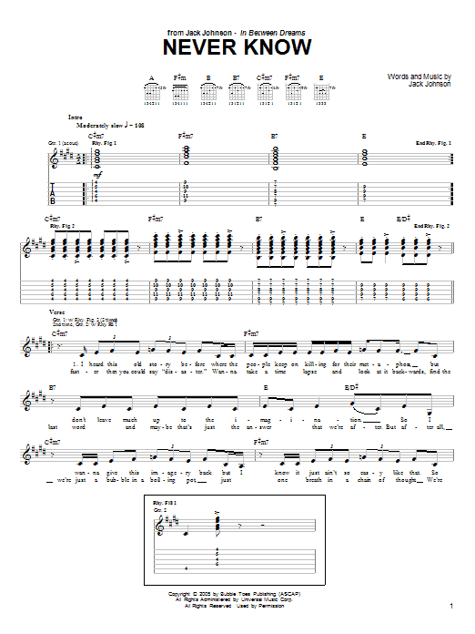 Download Jack Johnson Never Know sheet music and printable PDF score & Rock music notes