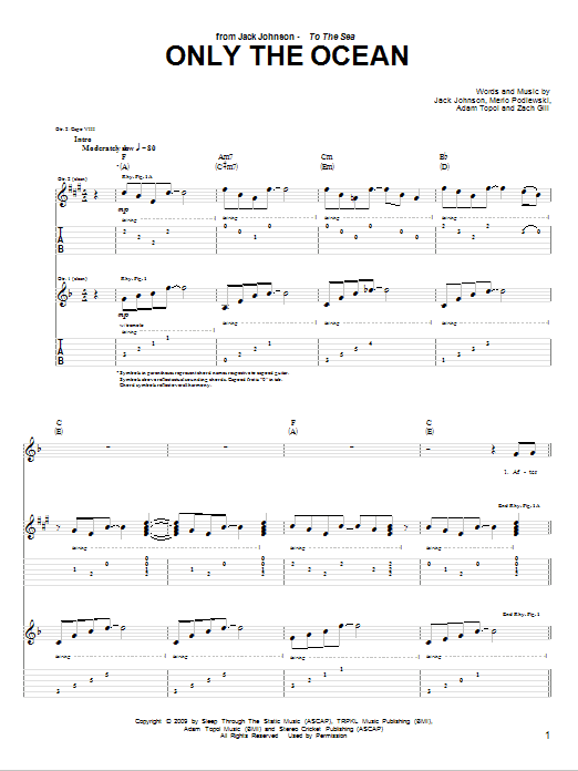 Download Jack Johnson Only The Ocean sheet music and printable PDF score & Rock music notes