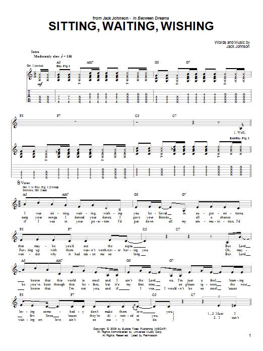 Download Jack Johnson Sitting, Waiting, Wishing sheet music and printable PDF score & Rock music notes