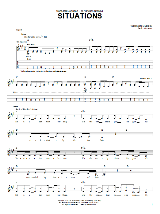 Download Jack Johnson Situations sheet music and printable PDF score & Rock music notes