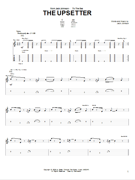 Download Jack Johnson The Upsetter sheet music and printable PDF score & Rock music notes