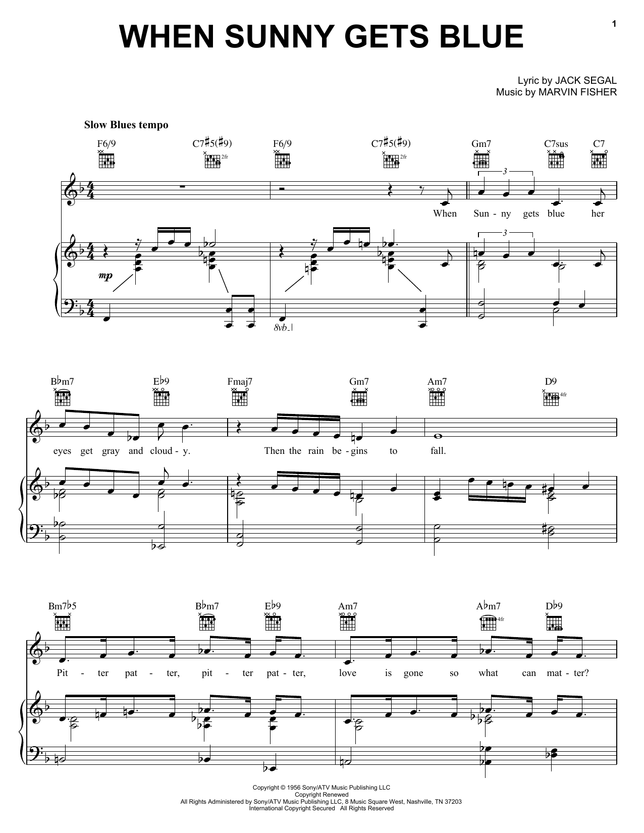 Download Jack Segal When Sunny Gets Blue sheet music and printable PDF score & Jazz music notes