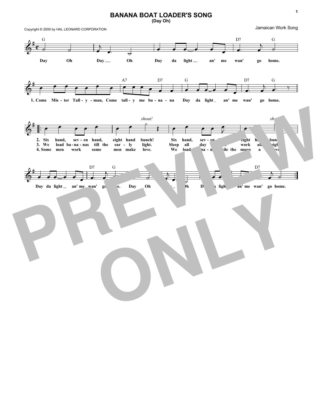 Jamaican Work Song 'The Banana Boat Song' Sheet Music Notes, Chords |  Download Printable Melody Line, Lyrics & Chords - SKU: 174001