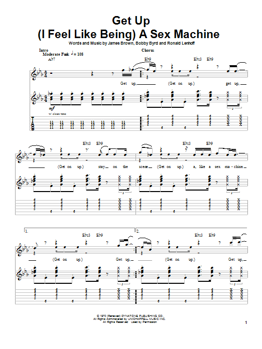 Download James Brown Get Up (I Feel Like Being) A Sex Machine sheet music and printable PDF score & Pop music notes