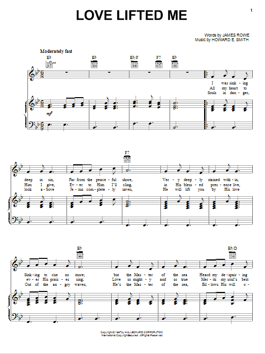 Download James Rowe Love Lifted Me sheet music and printable PDF score & Hymn music notes