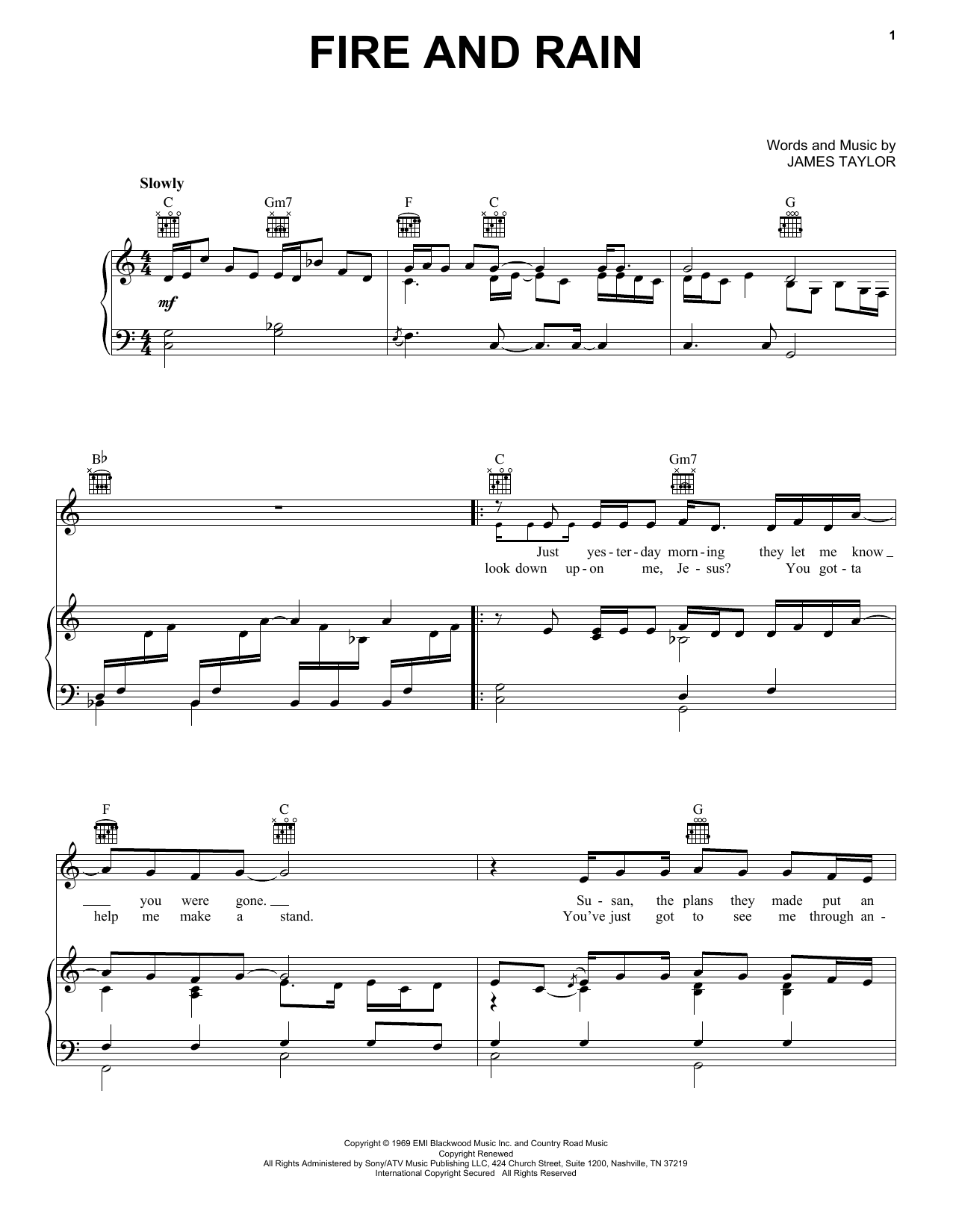 Download James Taylor Fire And Rain sheet music and printable PDF score & Pop music notes