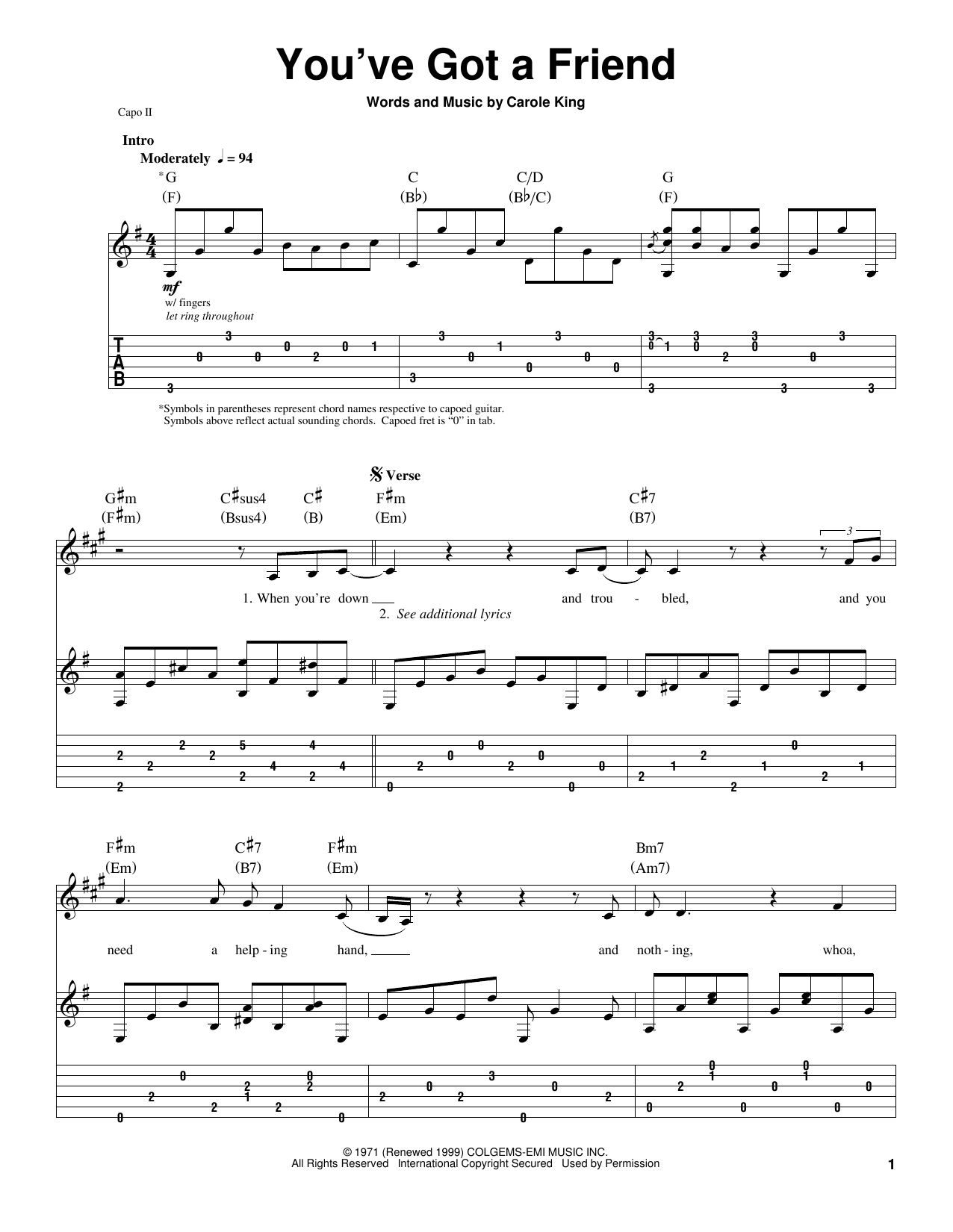Download James Taylor You've Got A Friend sheet music and printable PDF score & Pop music notes