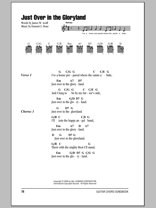Download James W. Acuff Just Over In The Gloryland sheet music and printable PDF score & Hymn music notes