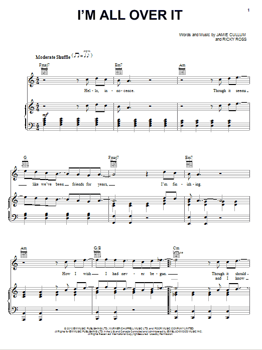 Download Jamie Cullum I'm All Over It sheet music and printable PDF score & Pop music notes