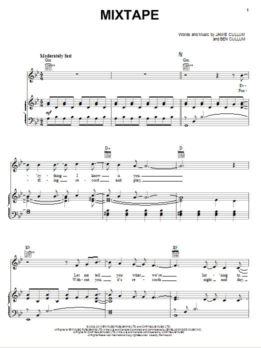 Download Jamie Cullum Mixtape sheet music and printable PDF score & Pop music notes