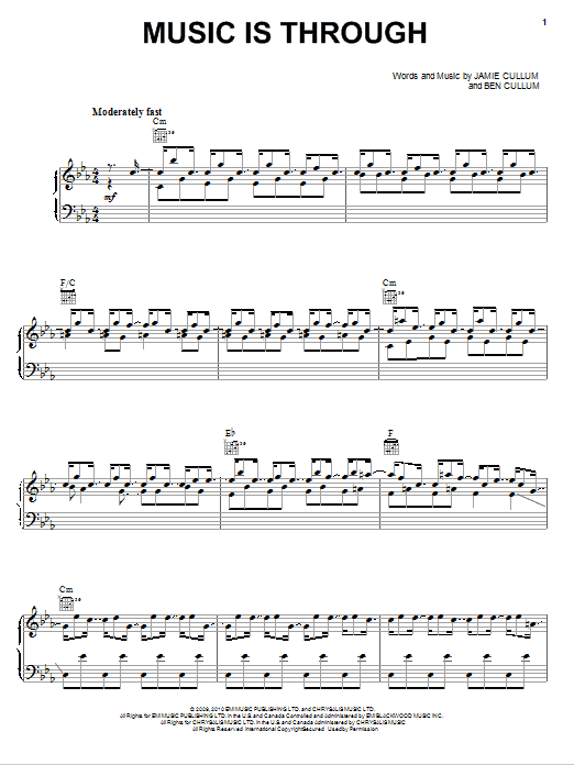 Download Jamie Cullum Music Is Through sheet music and printable PDF score & Pop music notes