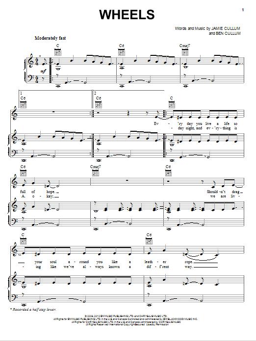 Download Jamie Cullum Wheels sheet music and printable PDF score & Pop music notes