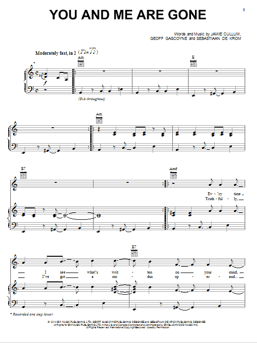 Download Jamie Cullum You And Me Are Gone sheet music and printable PDF score & Pop music notes