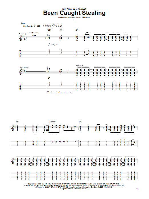 Download Jane's Addiction Been Caught Stealing sheet music and printable PDF score & Pop music notes