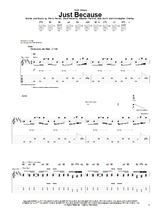 Download Jane's Addiction Just Because sheet music and printable PDF score & Rock music notes