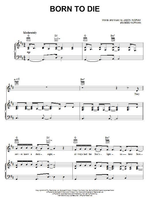 Download Jason Ingram Born To Die sheet music and printable PDF score & Religious music notes