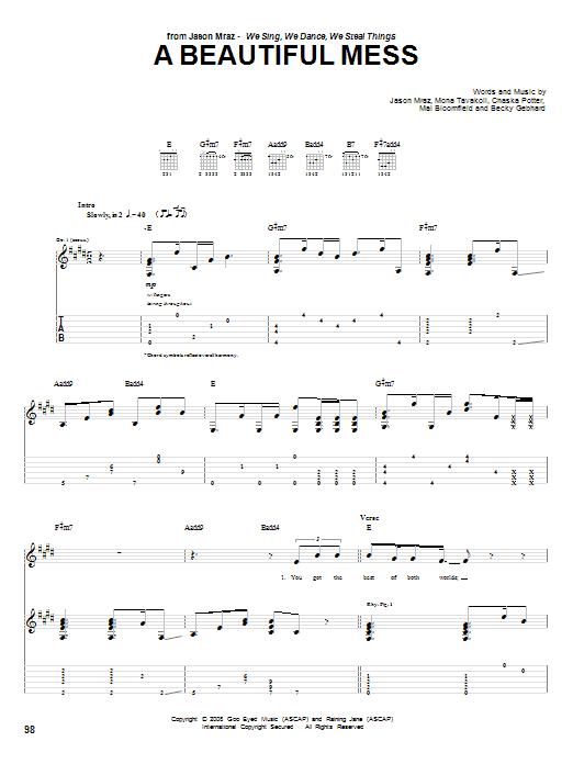 Download Jason Mraz A Beautiful Mess sheet music and printable PDF score & Rock music notes