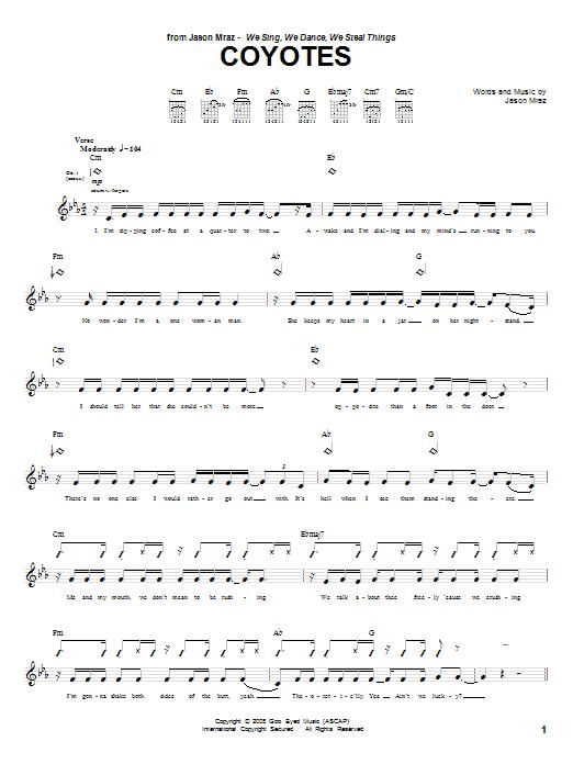 Download Jason Mraz Coyotes sheet music and printable PDF score & Rock music notes
