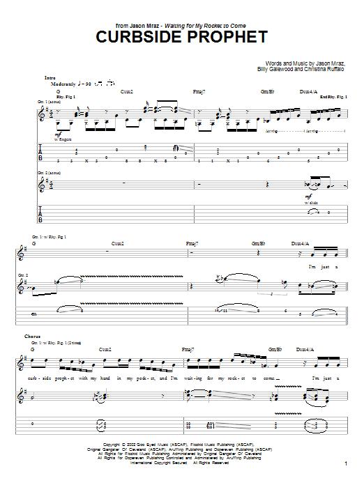 Download Jason Mraz Curbside Prophet sheet music and printable PDF score & Rock music notes