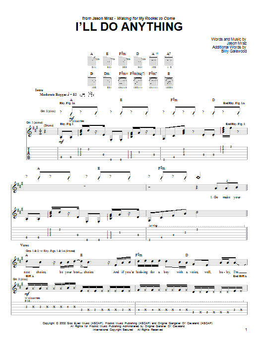 Download Jason Mraz I'll Do Anything sheet music and printable PDF score & Rock music notes