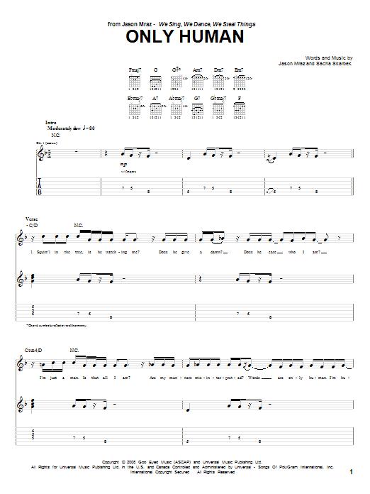 Download Jason Mraz Only Human sheet music and printable PDF score & Rock music notes