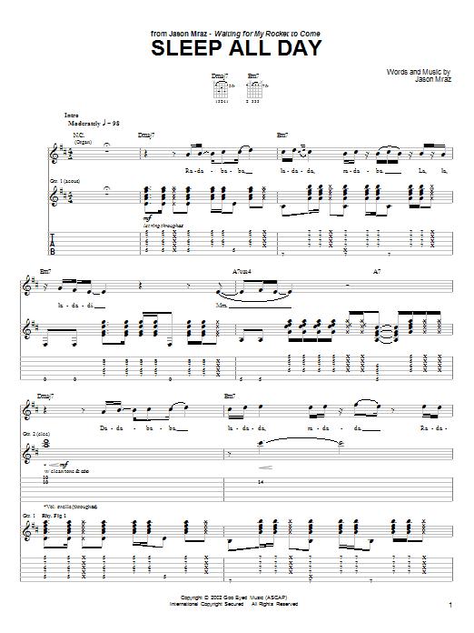 Download Jason Mraz Sleep All Day sheet music and printable PDF score & Rock music notes