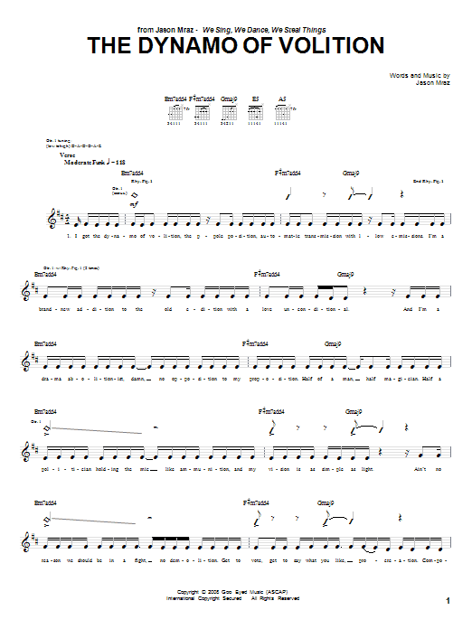 Download Jason Mraz The Dynamo Of Volition sheet music and printable PDF score & Rock music notes