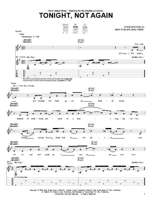 Download Jason Mraz Tonight, Not Again sheet music and printable PDF score & Rock music notes