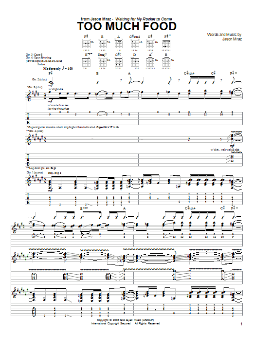 Download Jason Mraz Too Much Food sheet music and printable PDF score & Rock music notes