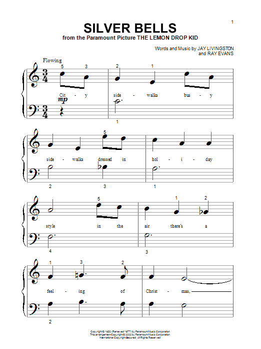 Download Jay Livingston Silver Bells sheet music and printable PDF score & Christmas music notes