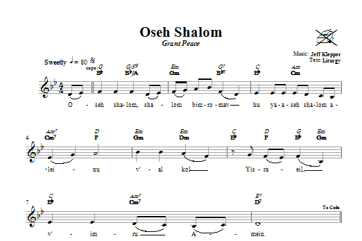 Download Jeff Klepper Oseh Shalom (Grant Peace) sheet music and printable PDF score & Religious music notes