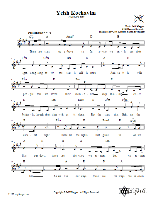 Download Jeff Klepper Yeish Kochavim (There Are Stars) sheet music and printable PDF score & Religious music notes