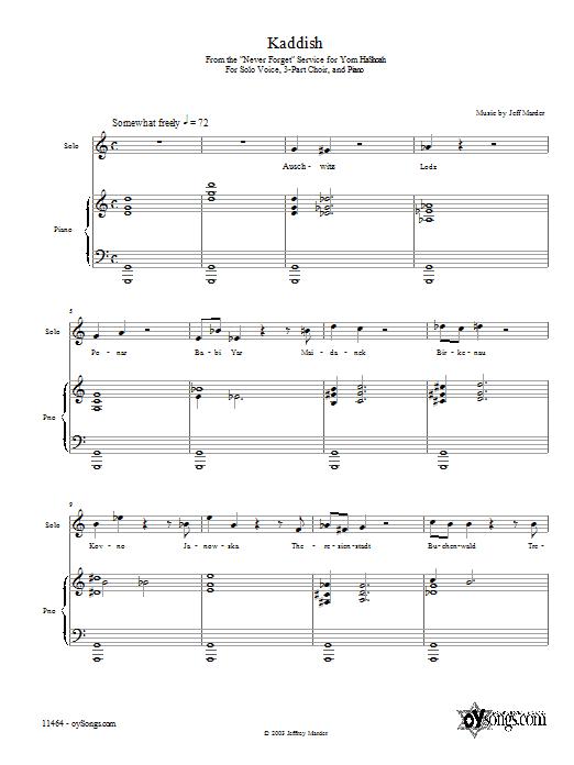 Download Jeff Marder Kaddish sheet music and printable PDF score & World music notes