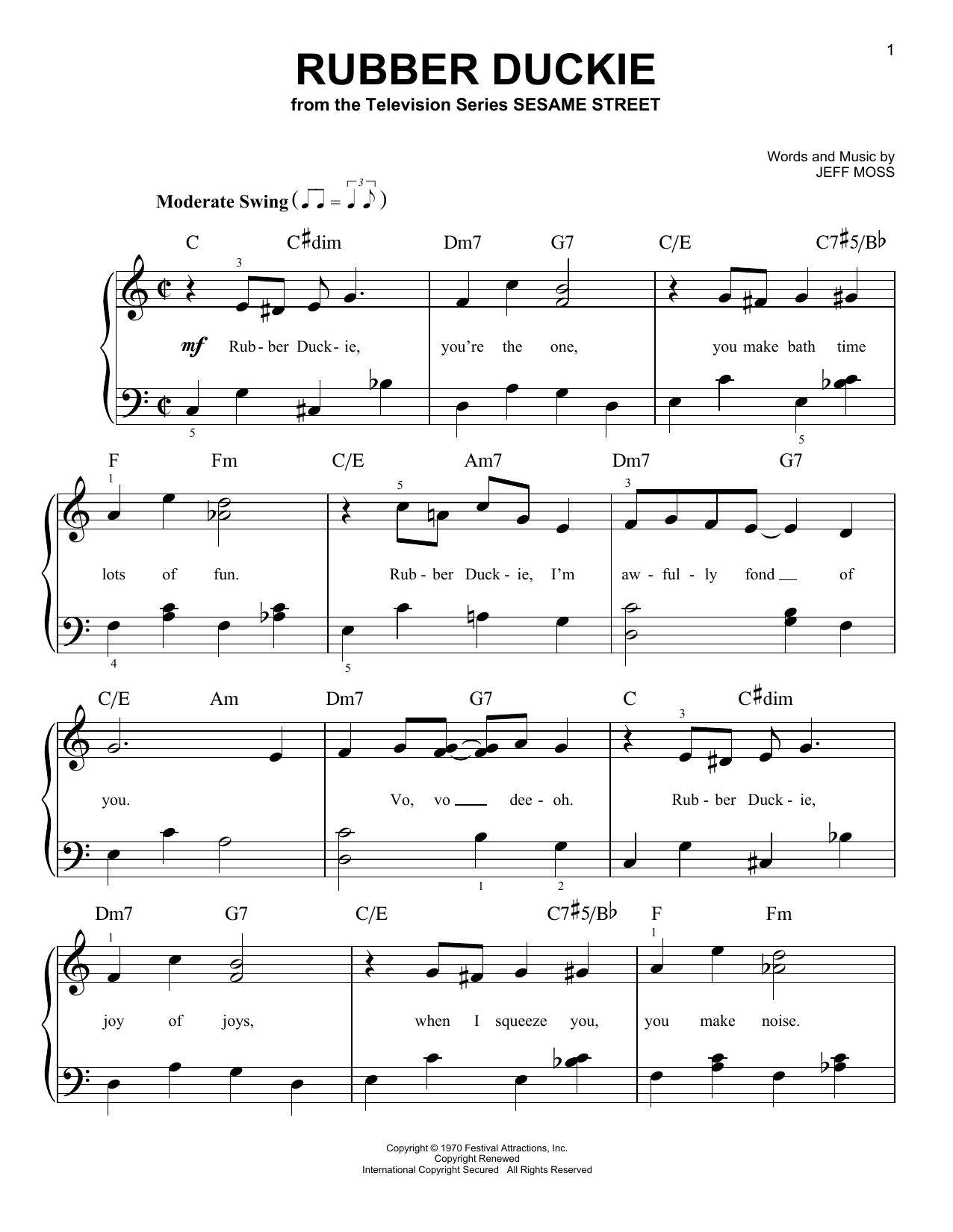 Download Jeff Moss Rubber Duckie sheet music and printable PDF score & Children music notes